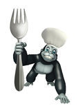 Gorilla cartoon character with chef hat and spoons Stock Images