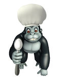 Gorilla cartoon character with chef hat and spoons Stock Photography