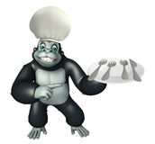 Gorilla cartoon character  with dinner plate Stock Photography