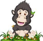 Gorilla cartoon sitting on flowers garden Royalty Free Stock Photography