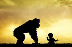 Gorilla with child. Illustration of gorilla with child at sunset Stock Images