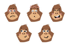 Gorilla cute. Monkey faces, emoticons. Royalty Free Stock Image