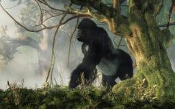 Gorilla in de wildernis stock illustratie
