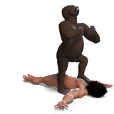 Gorilla defeated the apeman. 3D rendering with Stock Photos