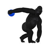 Gorilla Discus Thrower Discobolus Illustration. A concept of strength of a discus thrower in a gorilla Royalty Free Stock Photo