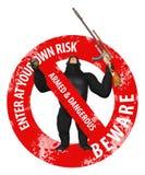 Gorilla Enter At Your Own risk förbjuden illustration royaltyfri illustrationer