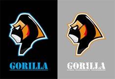 gorilla Gorilla Face Gorillahuvud stock illustrationer