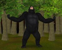 Gorilla Growling Thunderously In The Forest Illustration Royaltyfria Bilder
