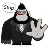 Gorilla guard strong. Huge gorilla of a security guard nightclub Royalty Free Stock Photos