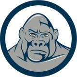 Gorilla Head Circle Cartoon arrabbiato Immagini Stock Libere da Diritti