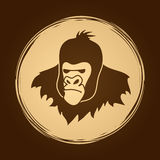 Gorilla Head. Designed on grunge circle background graphic vector Stock Photo