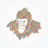 Gorilla Head. Designed using colorful pixels graphic vector Stock Photography