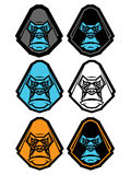 Gorilla Head Icon Set Stock Images
