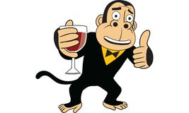 Gorilla holding glass of wine vector. Drawing Royalty Free Stock Images