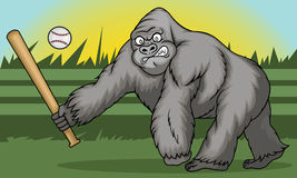 Gorilla Holding Softball Hitting Stick Royalty Free Stock Photos