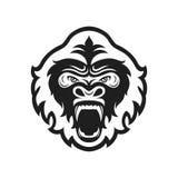 Gorilla hoofdembleem voor sportclub of team Dierlijke mascotte logotype malplaatje Vector illustratie Stock Foto
