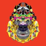 Gorilla hoofdontwerp in geometrisch patroon stock illustratie