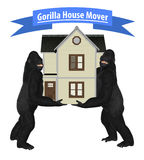 Gorilla House Home Mover Illustration. Two black gorillas moving a house illustration Royalty Free Stock Image
