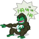 Gorilla laugh out lound. Gorilla sit down and laugh out loud very happy. Point finger front of she royalty free illustration