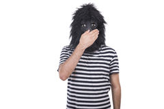 Gorilla man. Isolated on a white background Royalty Free Stock Photo