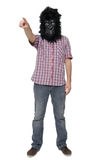 Gorilla man. Man with a gorilla mask, isolated on a white background, pointing a finger Royalty Free Stock Photos