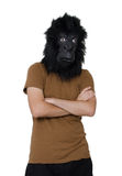 Gorilla man. Man with a gorilla mask posing, isolated on a white background Stock Photo