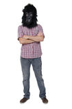 Gorilla man. Man with a gorilla mask posing, isolated on a white background Royalty Free Stock Photos