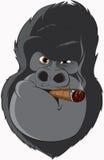 Gorilla met een sigaret royalty-vrije illustratie
