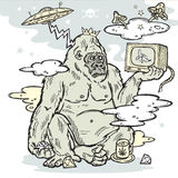 Gorilla in the mist with TV in hand Stock Photo