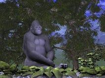 Gorilla monkey thinking - 3D render. Gorilla monkey thinking sitting in nature - 3D render stock illustration
