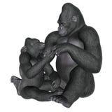 Gorilla motherhood - 3D render Stock Photos