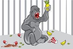 Gorilla nella gabbia illustrazione vettoriale
