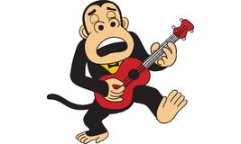Gorilla playing guitar vector. Gorilla playing guitar  vector, drawing Stock Photography