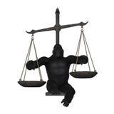 Gorilla Pointing Plates Balance Weighing-Schaalillustratie Stock Fotografie