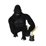Gorilla Posing Champion Trophy Illustration Royaltyfri Foto