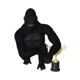 Gorilla Posing Champion Trophy Illustration stock illustratie