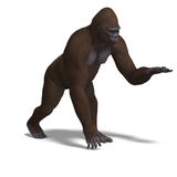 Gorilla presenting something. 3D rendering with Royalty Free Stock Images