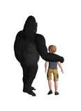 Gorilla Protecting ein Kind Lizenzfreie Stockfotos