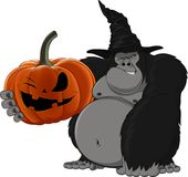 Gorilla with a pumpkin Royalty Free Stock Images
