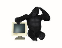 Gorilla Puzzled With Computer Monitor-Illustratie Royalty-vrije Stock Afbeelding