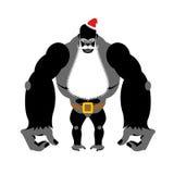 Gorilla Santa Claus Grand animal sauvage avec la barbe et la moustache St Photo libre de droits