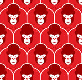 Gorilla seamless pattern. Flock of Angry red big monkey Royalty Free Stock Photo