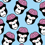Gorilla seamless pattern. Monkey brains. Vector ornament from an Stock Images