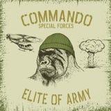 Gorilla-soldat i hatt vektor illustrationer