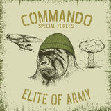 Gorilla-soldier in hat. And dazzle paint.Commando.Prints design for t-shirts Stock Photo
