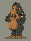 Gorilla som spelar gitarren Stock Illustrationer