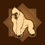 Gorilla. Standing designed on line square background graphic vector Royalty Free Stock Photos
