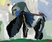 Gorilla. The symbolic image of a monkey, which belongs to the family of gorillas Stock Photo
