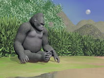 Gorilla thinking next to water - 3D render Stock Photography