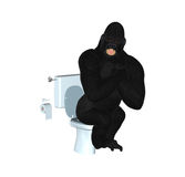 Gorilla Toilet Surprised Illustration Royalty Free Stock Photo